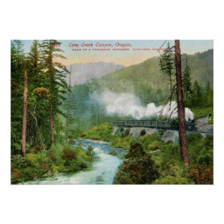 Train, Cow Creek Canyon, Oregon Vintage Poster