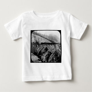Train Crossing Arched Bridge Magic Lantern B&W Baby T-Shirt