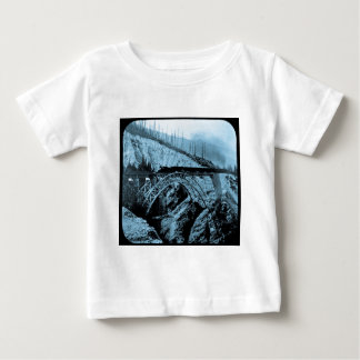 Train Crossing Arched Bridge Magic Lantern Slide Baby T-Shirt