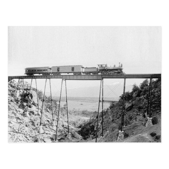 Train Crossing High Bridge, 1890 Postcard