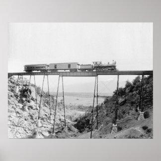 Train Crossing High Bridge, 1890. Vintage Photo Poster
