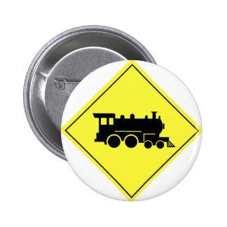 Train Crossing Sign Pinback Button