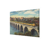 Train- Crossing Stone Arch Bridge Gallery Wrapped Canvas