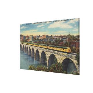 Train- Crossing Stone Arch Bridge Canvas Print