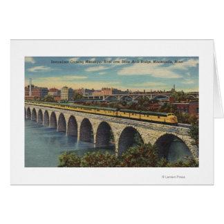 Train- Crossing Stone Arch Bridge Greeting Card