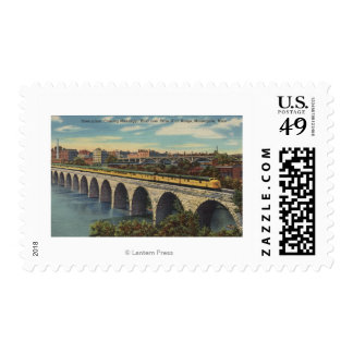 Train- Crossing Stone Arch Bridge Postage Stamp