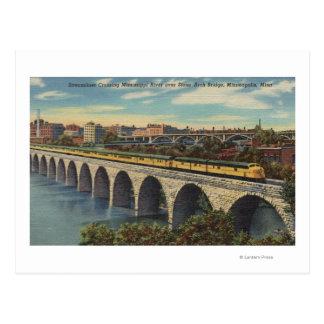 Train- Crossing Stone Arch Bridge Postcard