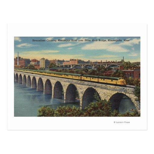Train- Crossing Stone Arch Bridge Postcards