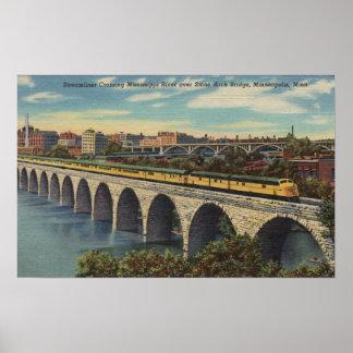 Train- Crossing Stone Arch Bridge Poster