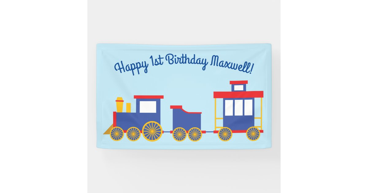 Train Cute Choo Choo 1st Birthday Party Theme Banner Zazzle Com