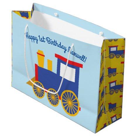 Train Cute Choo-Choo 1st Birthday Party Theme Large Gift Bag