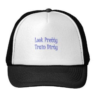 Train dirty blue trucker hat
