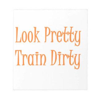 Train dirty- orange note pad