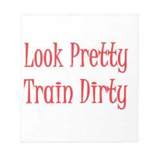 Train dirty- red memo pad