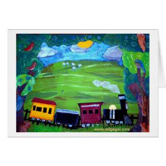 Train driving over the Pennsylvania hillside Card