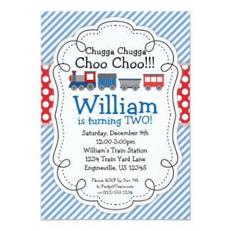 Train Engine, Baby Blue Stripes Red Polka Dots 5x7 Paper Invitation Card