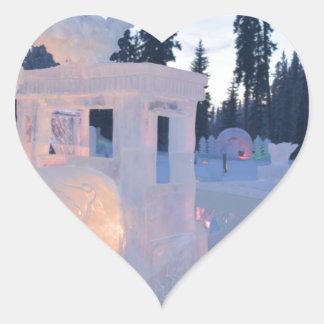 train engine Ice sculpture winter frozen snow art Heart Sticker