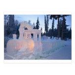train engine Ice sculpture winter frozen snow art Postcard