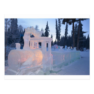 train engine Ice sculpture winter frozen snow art Postcard