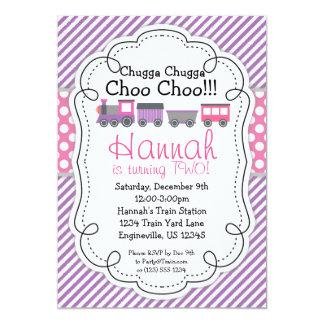 Train Engine Purple Stripe Pink Polka Dot Birthday 5x7 Paper Invitation Card