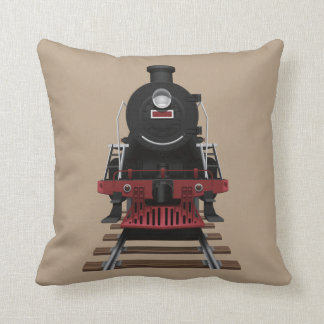 Train Engine Railroad Locomotive Any Color Throw Pillow