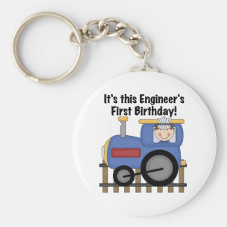 Train Engineer 1st Birthday Tshirts and gifts Basic Round Button Keychain