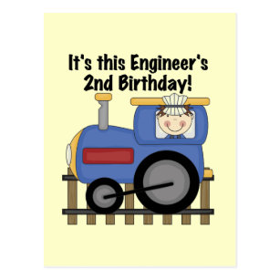 Train Engineer 2nd Birthday Tshirts And Gifts Postcard