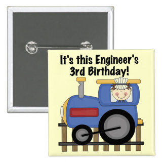 Train Engineer 3rd Birthday Tshirts and Gifts Button