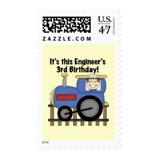 Train Engineer 3rd Birthday Tshirts and Gifts Postage Stamp