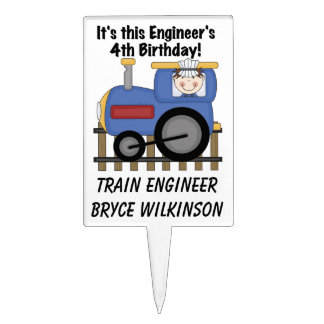 Train Engineer 4th Birthday Cake Topper