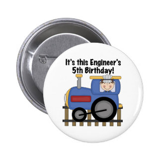 Train Engineer 5th Birthday tshirts and Gifts 2 Inch Round Button