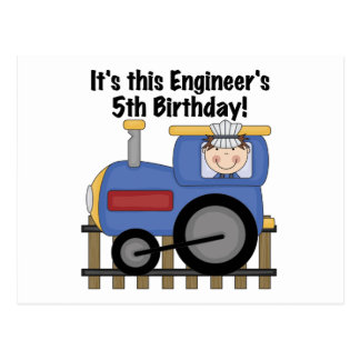 Train Engineer 5th Birthday tshirts and Gifts Postcards
