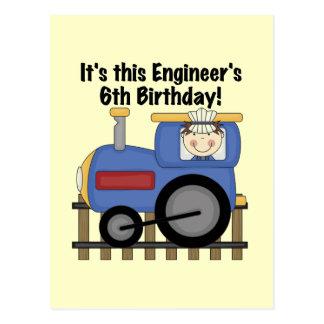 Train Engineer 6th Birthday Tshirts and Gifts Postcard