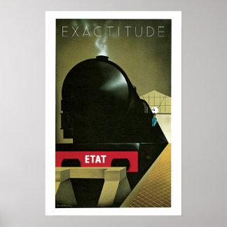 Train Exactitude Vintage Travel Poster