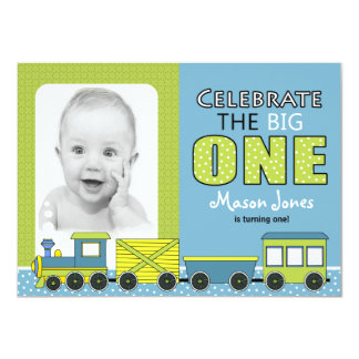 Train First Birthday Party Card