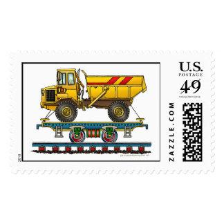 Train Flat Car With Dump Truck Railroad Stamps