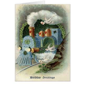 Train Forget Me Not Clover Dove Card