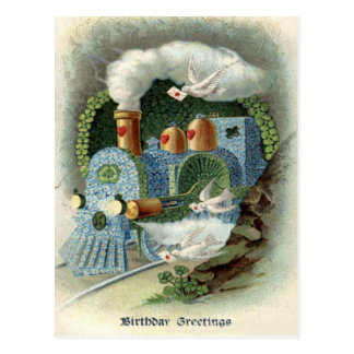 Train Forget Me Not Clover Dove Postcard