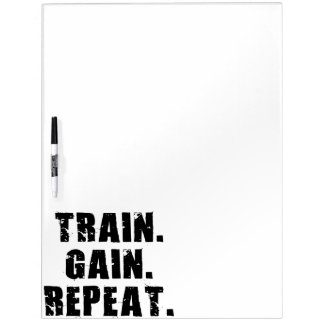 TRAIN, GAIN, REPEAT - Gym Workout Motivational Dry-Erase Board