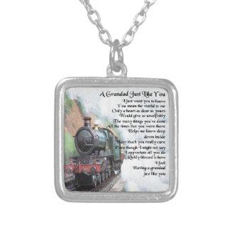 Train - Grandad Poem Silver Plated Necklace