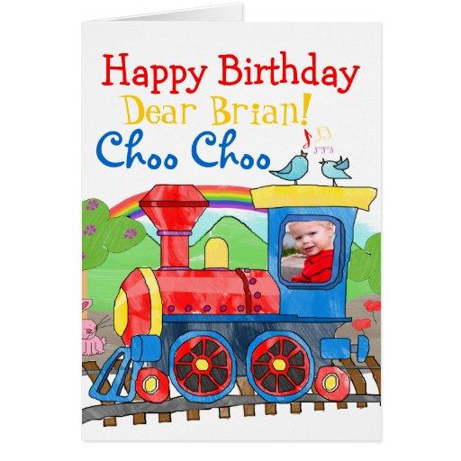 train happy birthday photo greeting card