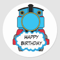 Train Happy Birthday round Sticker