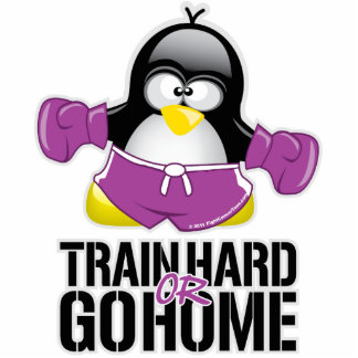 Train Hard or Go Home Penguin Standing Photo Sculpture