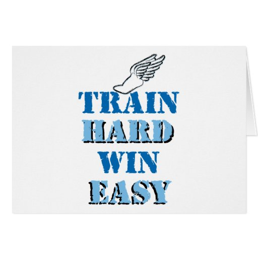 Train hard  Win Easy - Track and Field Cards