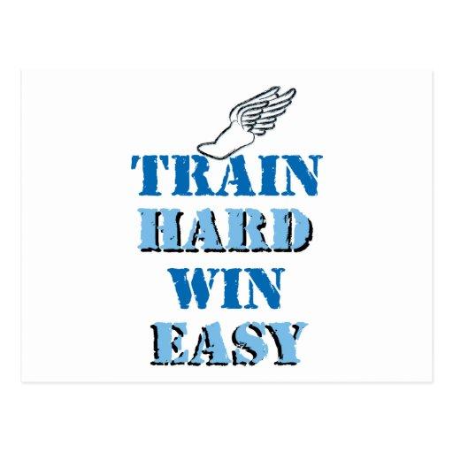Train hard  Win Easy - Track and Field Postcard