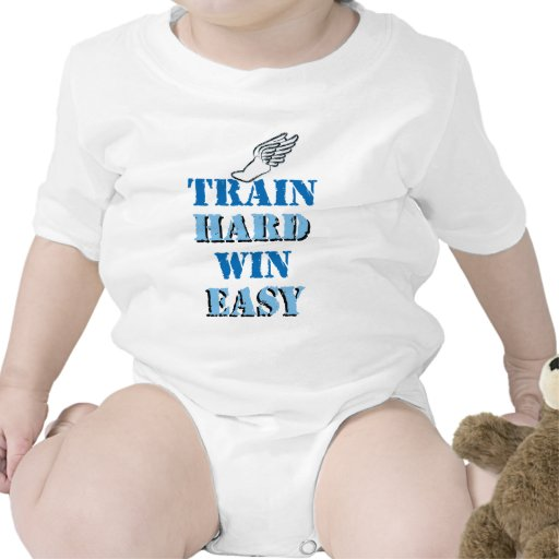 Train hard  Win Easy - Track and Field Baby Bodysuit