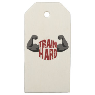 Train hard wooden gift tags