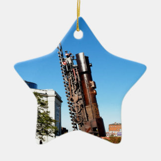 Train heart moving to freedom and sky ceramic ornament