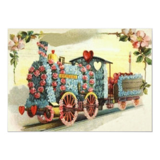 Train Heart Rose Forget-Me-Not Flower Card