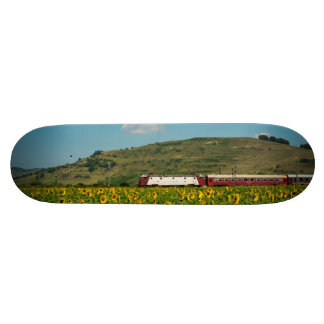 Train in a sunflower field skateboard deck